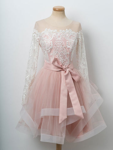 A-line Cute Pink Short Prom Dress Long Sleeve Scoop Lace Homecoming Dresses|Amyprom