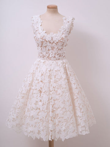 A-line Ivory Vintage Homecoming Dress Lace Homecoming Dresses Short Prom Dress AMY1796