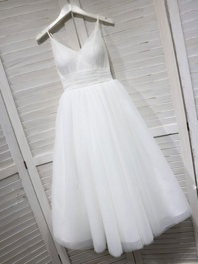 800861c34c24 White Spaghetti Straps Prom Dresses Tulle Tea Length Prom Dress Long Bridesmaid  Dresses Evening Dresses