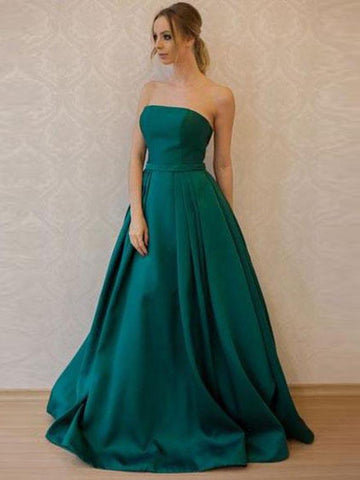 Chic A-line Prom Dresses Dark Green Floor Length Strapless Long Prom Dress AMY179