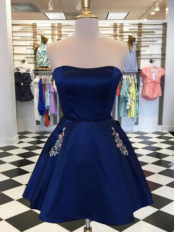 A-line Cute Royal Blue Short Prom Dress Strapless Homecoming Dresses|Amyprom