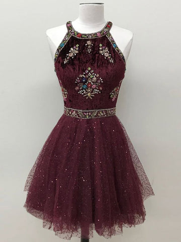 A-line Halter Homecoming Dress Sleeveless Beading Homecoming Dresses AMY1805