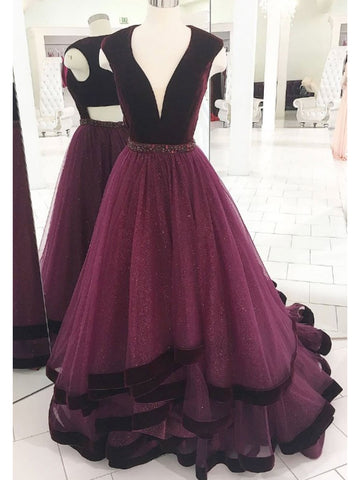 Trumpet/Mermaid Burgundy V neck Prom Dresses Tulle Evening Gowns Long Prom Dresses Evening Dresses AMY1808