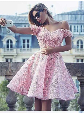 A-line Off-the-shoulder Homecoming Dress Pink Lace Homecoming Dresses Short Prom Dress AMY1809
