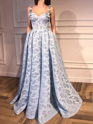 A-line Straps Blue Prom Dress Floor Length With Lace Prom Dresses Evening Dress AMY1810