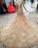 Trumpet/Mermaid Scoop Prom Dress Sweep/Brush Train With Beading Lace Prom Dresses Evening Dress AMY1811
