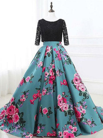 Chic Two Pieces Black Lace Prom Dress Half Sleeve Floral Prom Dresses Evening Dress AMY1813