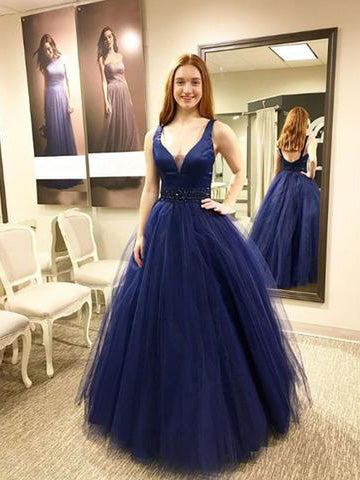 Chic Ball Gown Prom Dresses Dark Navy Floor Length Straps Long Prom Dress AMY181