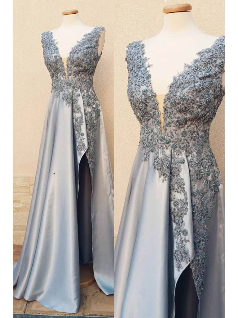 A-line V neck Silver Prom Dress With Silt Modest Lace Prom Dresses Long Evening Dress|Amyprom