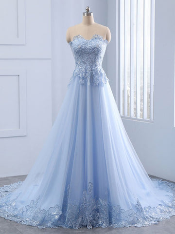A-line Sweetheart Ligh Blue Prom Dress With Applique Prom Dresses Long Evening Dress|Amyprom