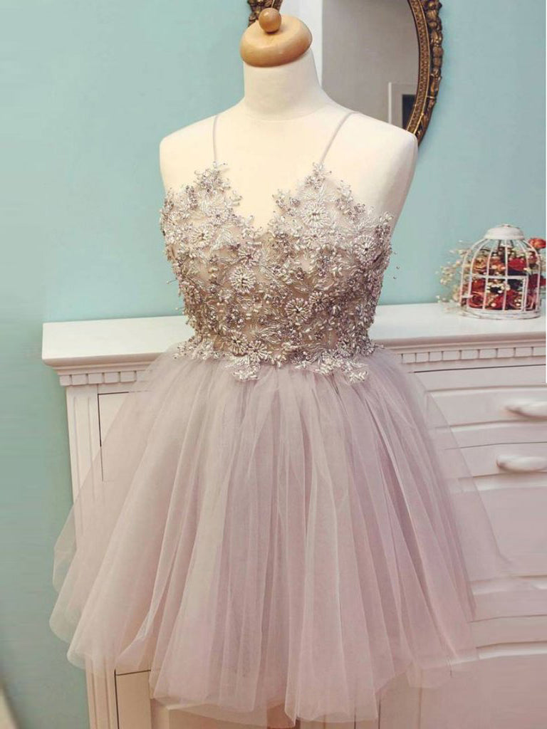 A-line Spaghetti Straps Sparkly Homecoming Dress Pink Short Prom Dresses Homecoming Dresses|Amyprom