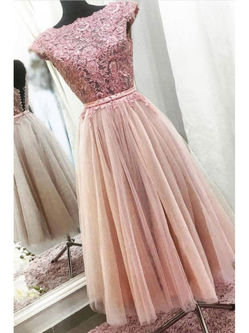 A-line Bateau Tea Length Prom Dress With Lace Prom Dresses Long Evening Dress|Amyprom