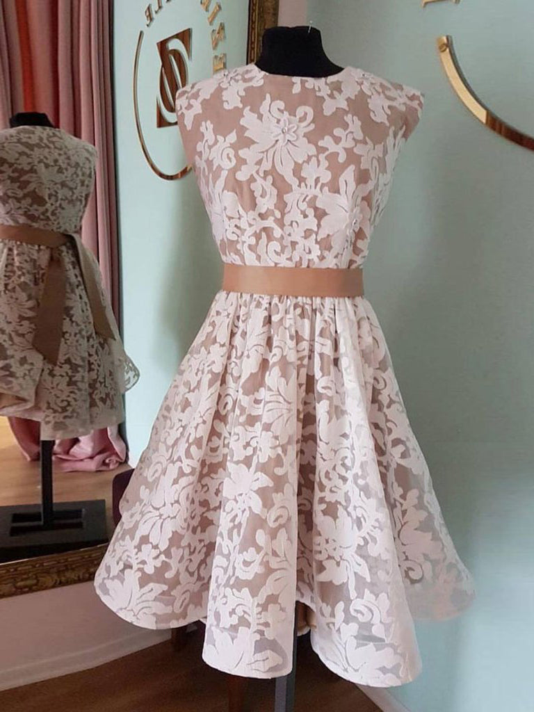 A-line Scoop Pink Knee Length Homecoming Dress Lace Cute Short Prom Dresses|Amyprom