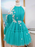 A-line Spaghetti Straps Blue Short Homecoming Dress Ruffles Cute Short Prom Dresses|Amyprom
