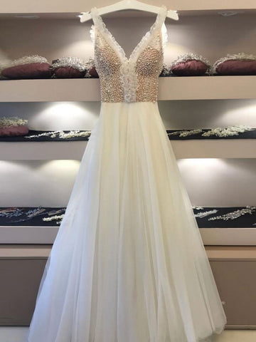 A-line Straps Ivory Prom Dress Unique Beading Prom Dresses Long Evening Dress|Amyprom