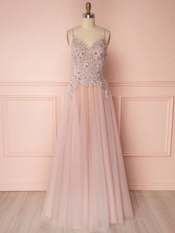 A-line Spaghetti Straps Pink Prom Dress With Lace Prom Dresses Long Evening Dress|Amyprom