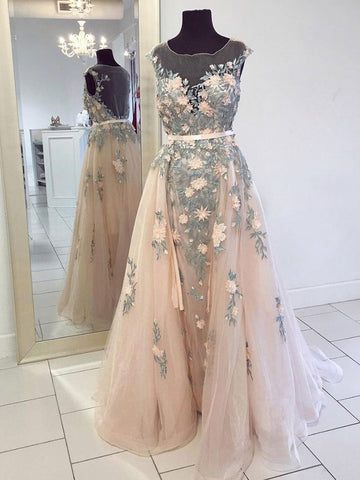 A-line Scoop Pink Prom Dress With Applique Prom Dresses Long Evening Dress|Amyprom