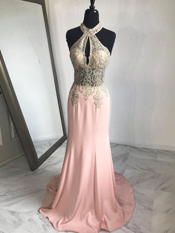Trumpet/Mermaid Halter Prom Dress Sparkly Prom Dresses Pink Long Evening Dress|Amyprom