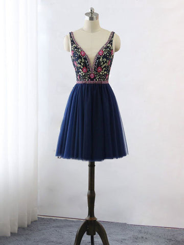 A-line Straps Dark Blue Short Homecoming Dress Beading Cute Short Prom Dresses|Amyprom