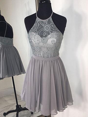 A-line Spaghetti Straps Silver Short Homecoming Dress Beading Unique Short Prom Dresses|Amyprom