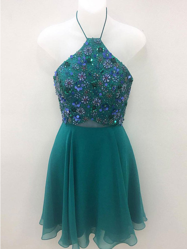 A-line Halter Green Short Homecoming Dress Beading Unique Short Prom Dresses|Amyprom