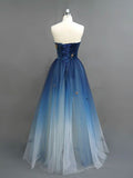 A-line Sweetehart Prom Dress Ombre Prom Dresses Blue Long Evening Dress|Amyprom