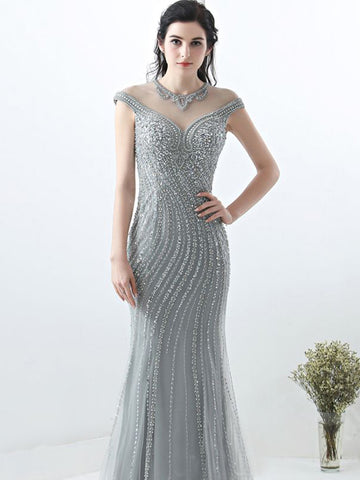 Trumpet/Mermaid Scoop Silver Prom Dress Sparkly Prom Dresses Long Evening Dress|Amyprom