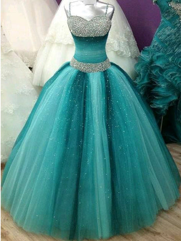 Ball Gowns Spaghetti Straps Ombre Prom Dress Sparkly Prom Dresses Long Evening Dress|Amyprom
