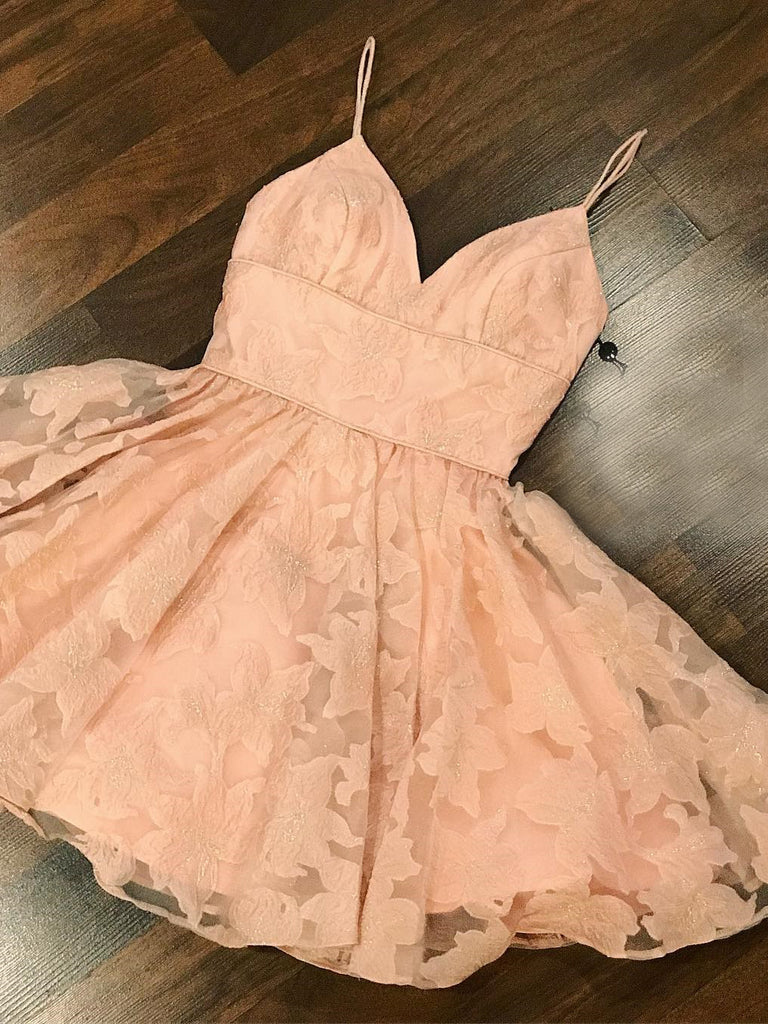 A-line Spaghetti Straps Pink Short Homecoming Dress Cute Short Prom Dresses AMY1866