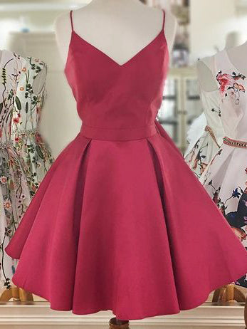 A-line Spaghetti Straps Red Short Homecoming Dress Simple Cute Short Prom Dresses|Amyprom