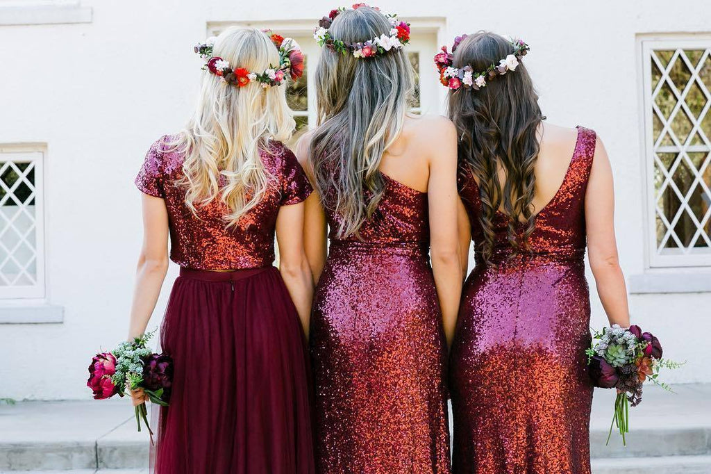 d508a0e69be ... A-line Burgundy Sequins Bridesmaid Dress Sparkly Bridesmaid Dresses  Long Prom Gowns AMY1869 ...