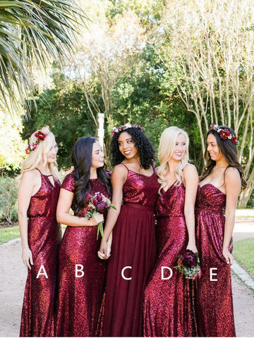 A-line Burgundy Sequins Bridesmaid Dress Sparkly Bridesmaid Dresses Long Prom Gowns AMY1869-1