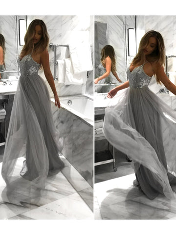 Chic Silver Prom Dresses Long A-line Modest Cheap Long Prom Dress With Sequins AMY186