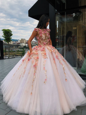 Chic Ball Gowns Scoop Applique Prom Dress Floral Prom Dresses Long Evening Dress AMY1879