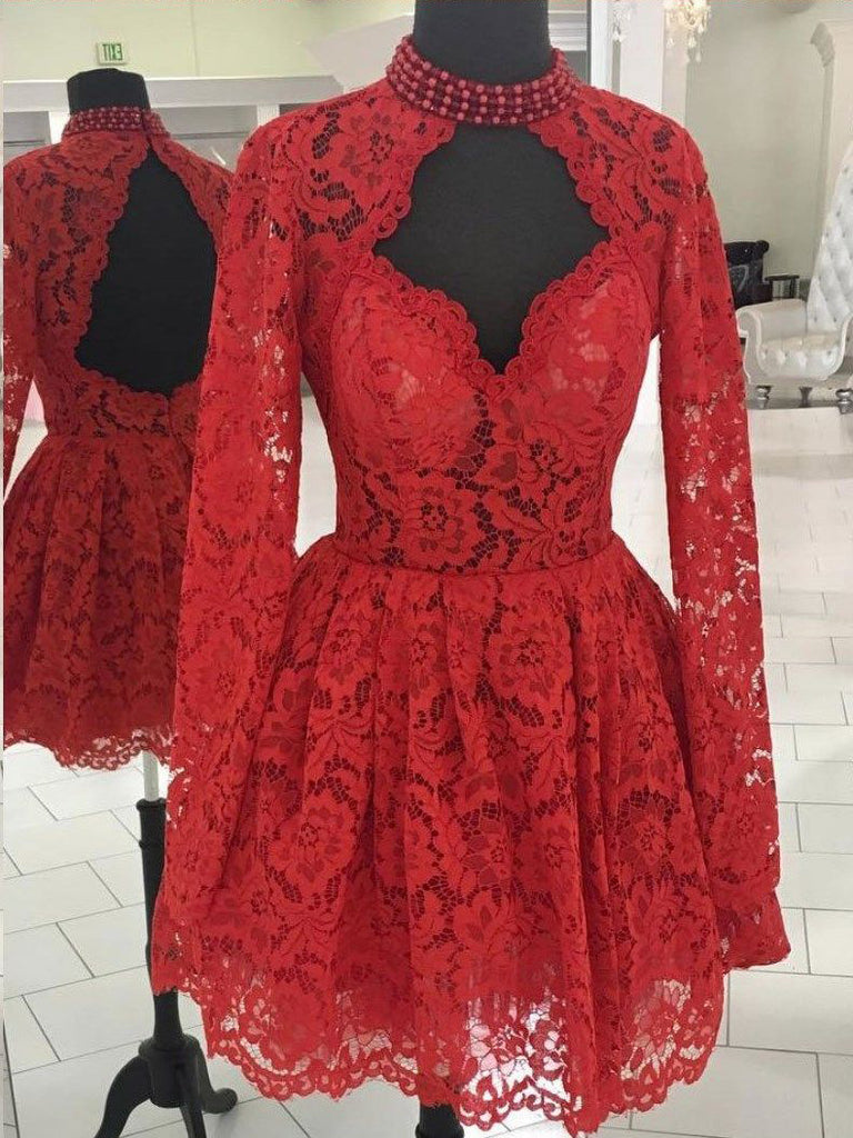 Chic A-line High Neck Long Sleeve Homecoming Dress Red Lace Short Prom Dress|Amyprom