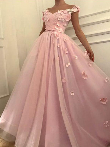 Chic A-line Off-the-shoulder Pink Prom Dress Floral Prom Dresses Long Evening Dress|Amyprom