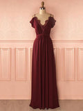 Chic A-line Spaghetti Straps Burgundy Prom Dress With Lace Prom Dresses Long Evening Dress|Amyprom