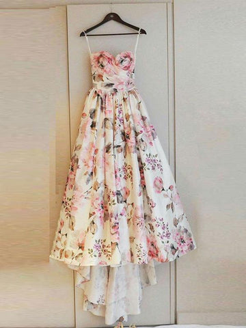 Chic Sweetehart Pink Floral Prom Dress Cheap Modest Prom Dresses Evening Dress|Amyprom