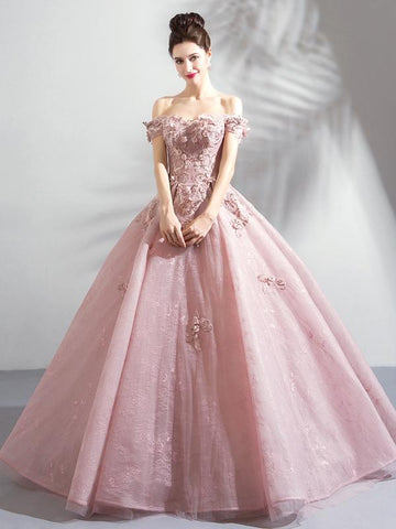 Chic Ball Gowns Off-the-shoulder Pink Prom Dress With Lace Prom Dresses Long Evening Dress|Amyprom