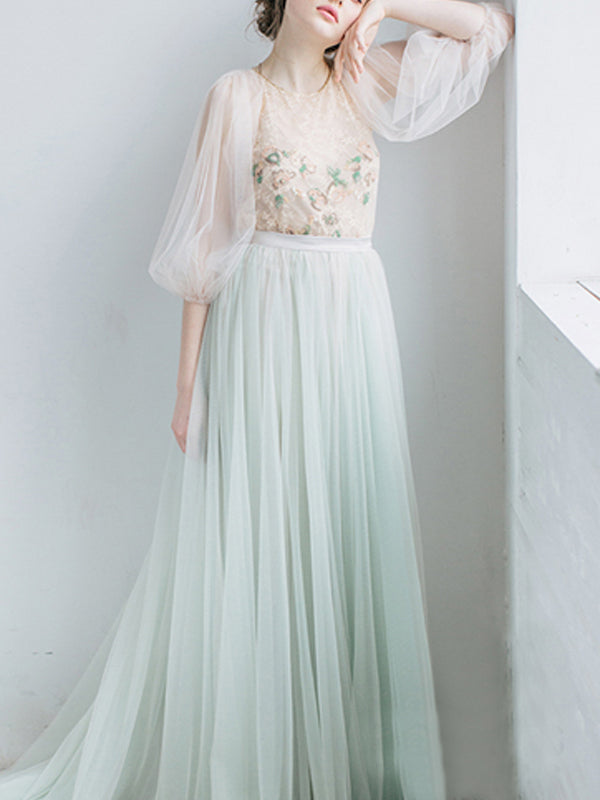 Chic Scoop Ombre Prom Dress Long 34 Sleeve Lace Prom Dresses