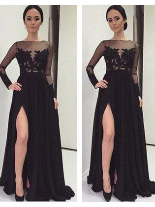 Chic Black Prom Dresses Long A-line Modest Cheap Long Prom Dress With Sleeve AMY188