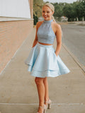 Two Pieces Homecoming Dress Light Sky Blue High Neck Cute Homecoming Dresses AMY1895