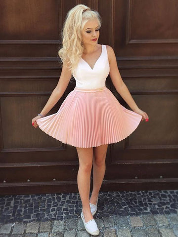 Chic A-line Pink White Homecoming Dress Cheap Cute Short Prom Dress|Amyprom