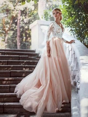 Chic A-line V neck Lace Wedding Dress With Sleeve Long Wedding Dresses Bridal Gowns|Amyprom