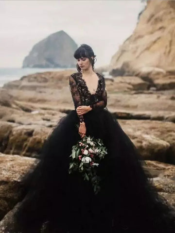 Chic V neck Black Wedding Dress Lace Open Back Long Sleeve Wedding Dresses Bridal Gowns|Amyprom