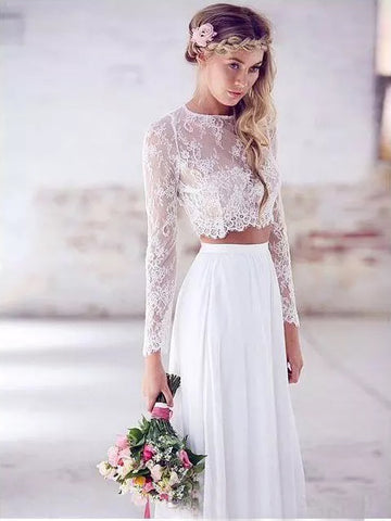 Chic A-line Two Pieces Lace Prom Dress White Long Sleeve Prom Dresses Long Evening Dress|Amyprom