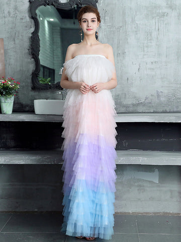 Chic Strapless Ombre Prom Dress Tulle cortos Long Prom Dresses Evening Dress|Amyprom