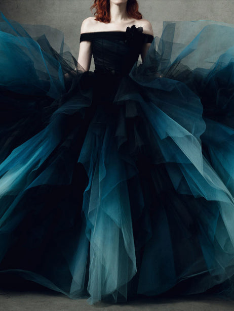 8ea72aa70d Chic Off The Shoulder Blue Ombre Prom Dress Tulle Long Prom Dresses