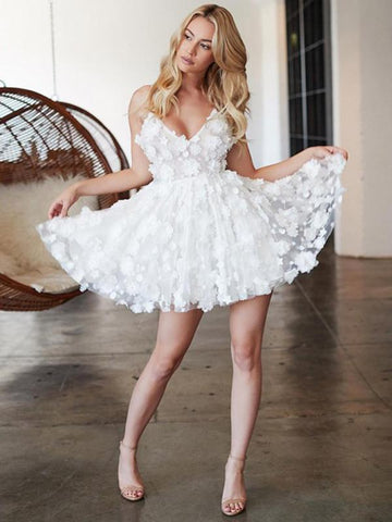 Chic A-line Spaghetti Straps White Homecoming Dress Applique Cute Short Prom Dress|Amyprom