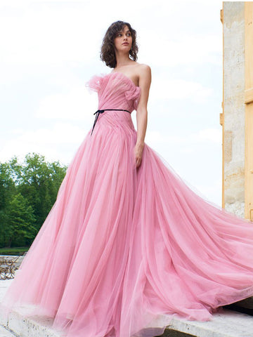 Chic A-line Strapless Pink Prom Dress Sweep/Brush Train Prom Dresses Long Evening Dress|Amyprom